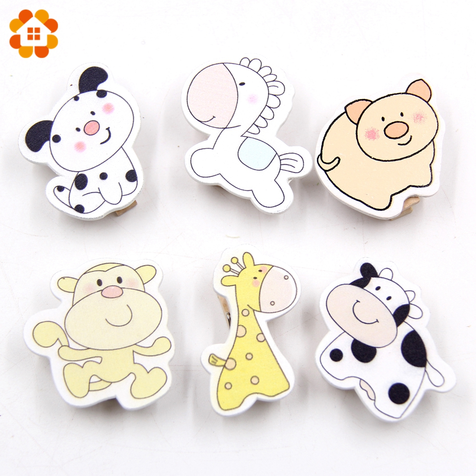 20PCS Animals Wooden Clips Photo Clips Clothespin Clips DIY Craft Home Wedding/Birthday Party Decoration Pegs Supplies Kids Gift