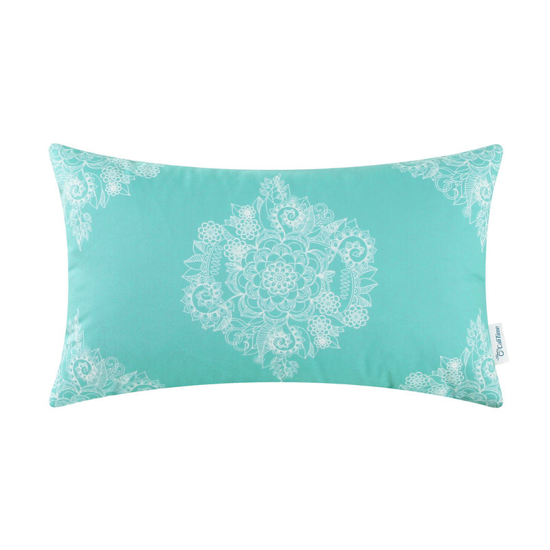Rectangle CaliTime Cushion Cover Pillows Shell Home Sofa Decor Fleece Short Plush Floral 12 X 20 (30cm X 50cm) Turquoise