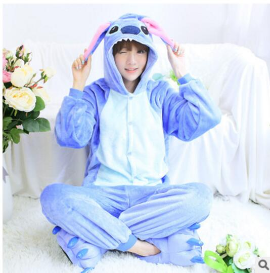 lilo and stitch onesie Unisex onesies for lovers warm fleece pajamas for women pajama se ...