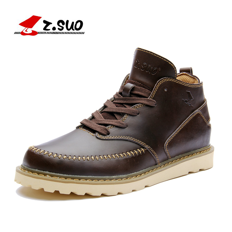 ZSUO brand Spring men boots 2018 NEW fashion Genuine leather Hand-made ankle boots men high quality casual outdoor boots shoes