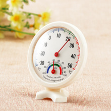 Thermometer Hygrometer Mini Round Clock-shaped Measuring Indoor Outdoor Wall Temperature Humidity Thermometer Meter Gauge