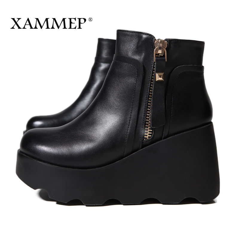 Xammep Women Winter Shoes Genuine Leather Natural Wool Boots Brand Women Shoes High Quality Ankle Boots With Platform High Heel-in Ankle Boots from Shoes    2