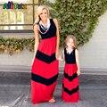 Família Roupas Combinando vestidos de bebê roupas de menina e mãe moda Listrado bonito listrado manga costura pano das crianças do sexo feminino