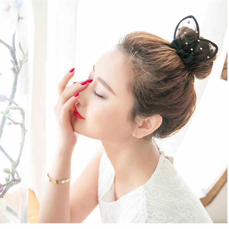 2017 New Girl's Summer Style Cute Rabbit Ears Hair Ring Headwear Hair accessories for Children Make Kids Fashion lovely Black