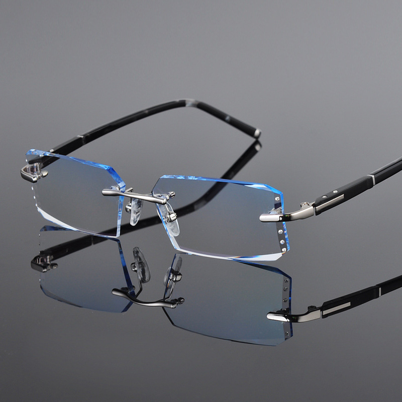 16525317d5b Chashma Luxury Tint Lenses Myopia and Reading Glasses Diamond Cutting Rimless  Prescription Glasses Frame for Man-in Eyewear Frames from Apparel  Accessories ...