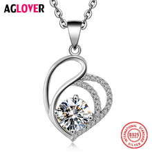 Love Necklace 925 Silver Women Charm Heart Pendant Necklace Jewelry High Quality 50cm Silver Chain AAAA 7mm Round Zircon Jewelry high quality love heart pendant fashion women casual luxury necklace 2019 new jewelry