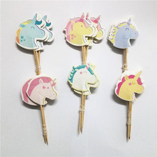 48pcs/lot Rainbow Unicorn Horse Head Cupcake Toppers Cake Accessory Kids Birthday Party Picks Baby Shower Event Decor