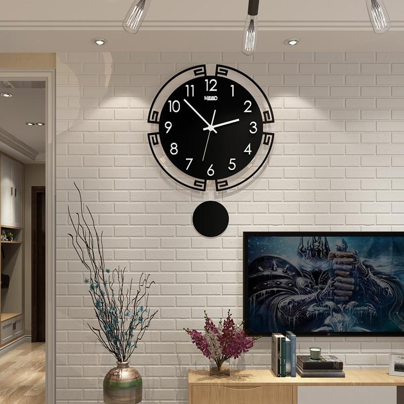 2019 Swingable Large Wall Clock Silent 3D Digital Modern Design Acrylic  Horloge Home Decoration Black Quartz Watch Free Shipping