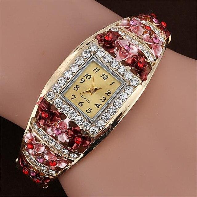 Fashion Brand Watch Women Quartz Luxury Crystal Flower Bracelet Watch Ladies Watch relogio feminino drop shipping