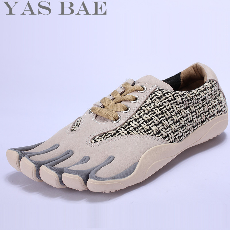 Sale Yas Bae Design Rubber Five Fingers Outdoor Slipvast Ademend Lichtgewicht Lace Up Geel Sneakers Schoenen voor Heren