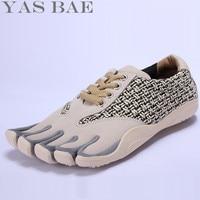 Verkauf Yas Bae Design Gummi Fünf Finger Outdoor Rutschfeste Atmungs Licht Gewicht Lace Up Gelb Sneaker Schuhe für Männer