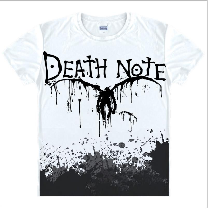 Death Note T Shirts Man Pria Lengan Pendek T-Shirt mode Tops Ukuran Cina Mens Top Cotton Tees Gratis Pengiriman Kasual Tshirts