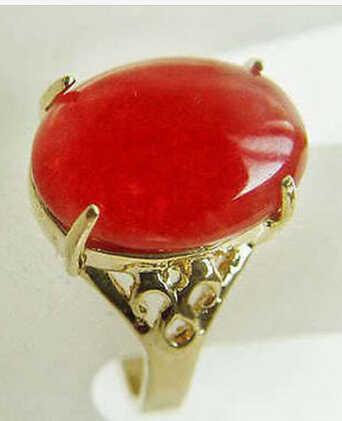 ร้อนขาย>@@ 0xแผ่นทองที่สวยงามสีแดงหยกแหวนขนาด: 7 8 9สามารถเลือก-เจ้าสาวเครื่องประดับจัดส่งฟรี