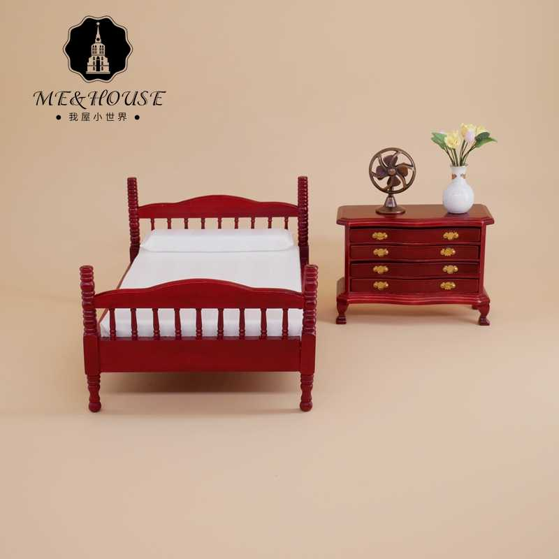 1:12 Dollhouse Miniature Furniture Bed Bedroom Set Chinese Style Vintage Retro Single Bed Pillow Toy Accessory 22036