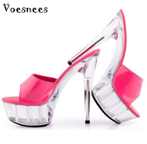 Verano mujeres de alta calidad Toboganes Sandalias ultra Tacones altos 15 cm  cristal transparente boda Zapatos Rosa plataformas refrigerador Zapatos en  ... 9ebba61b256e