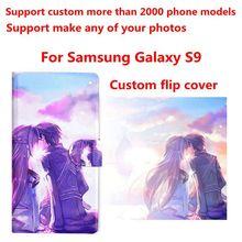 Funda de piel sintética con foto personalizada para móvil, funda con tapa para Samsung Galaxy S9