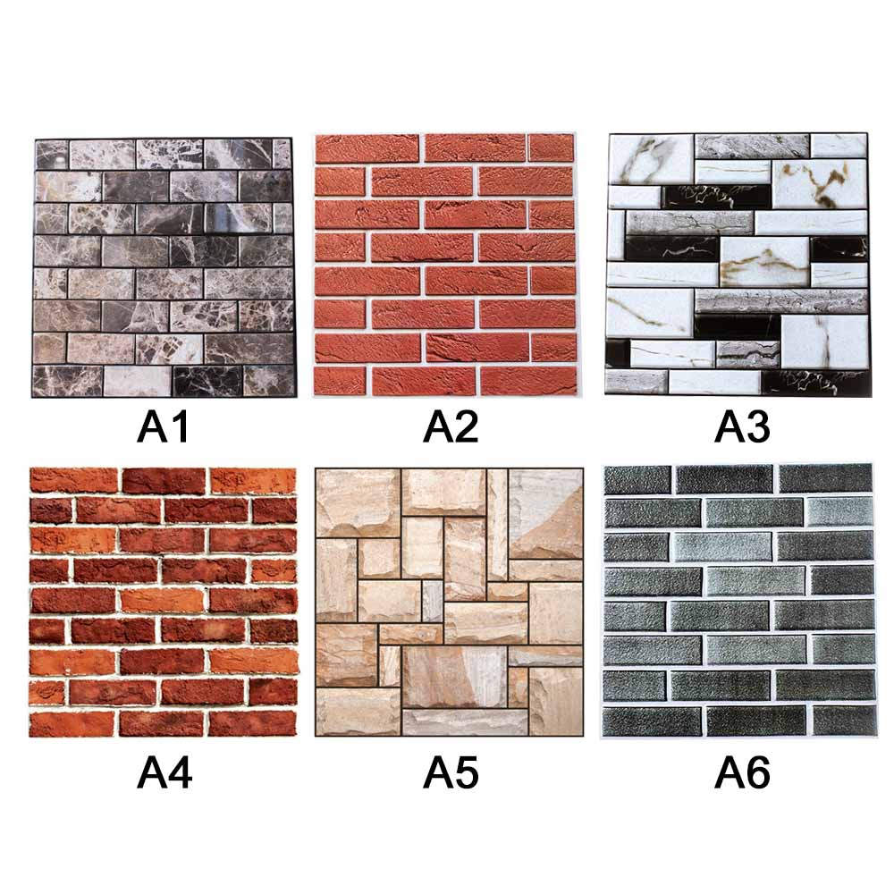 PVC 3D Wall Sticker Tile Brick Self-adhesive Mosaic Living Room TV Background Bedroom Decor 3D Wall Decal