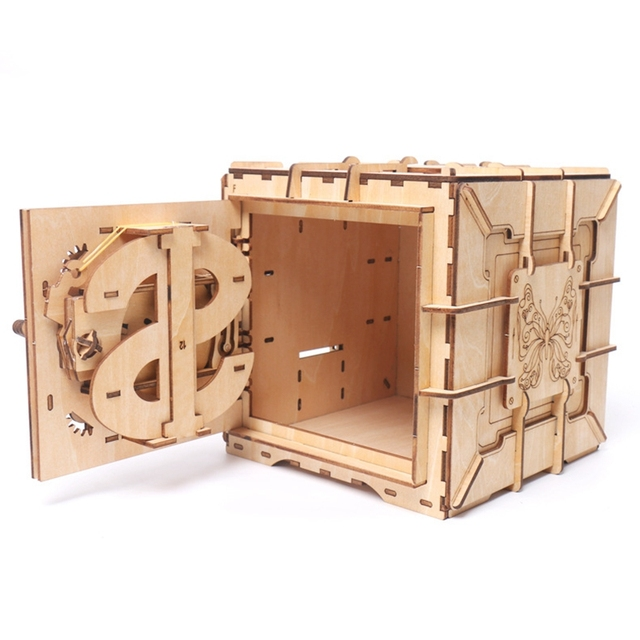 US $27 6 40% OFF|3D Puzzles Wooden Password Treasure Box Mechanical  Transmission Puzzle Ukraine UGEARS Model Valentine's Day Creative Gifts  Grow-in