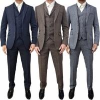 2018 new Men Suits 3 Piece Designer Retro Tweed Herringbone Groom Slim Tailored Fit Suit gray blue brown plus size custom