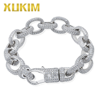 Xukim Jewelry Twisted Oval Cuban Link Chain Bracelet Big Clasp Gold Silver Color Zircon Iced Out Hip Hop Jewelry Gift Party