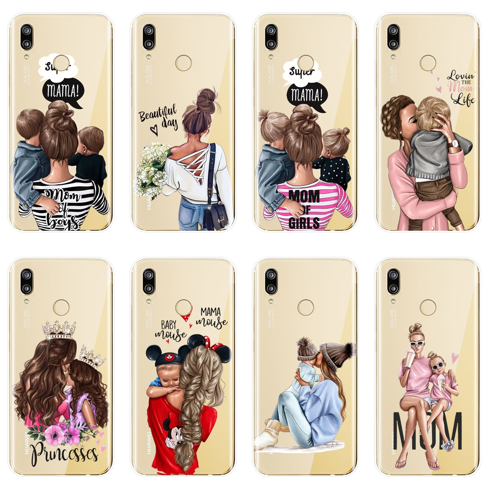Girl Baby Women Mom Case For Huawei P20 Lite Pro P9 P10 P Smart Plus P8 P9 Lite Mini 2017 Soft Silicone Back Cover Phone Case image