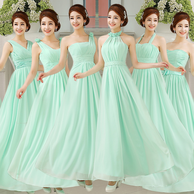 Robe demoiselle d'honneur 2018 new chiffon 6 style a line mint green   bridesmaid     dresses   long plus size cheap wedding guest   dress