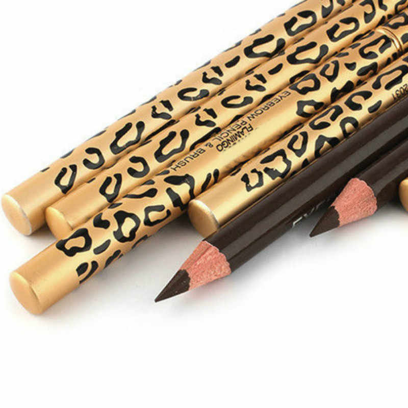 2018 NEW  Leopard print double - head eyebrow pencil waterproof and durable not to remove the perfect eyebrow pencil.