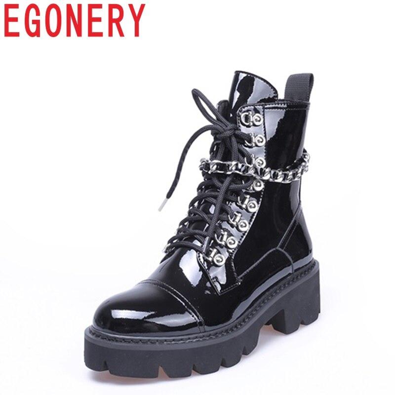 ÉGÉRIE Rock punk chaussures pour femmes bout rond fermeture éclair en cuir verni med 5 cm talon plate-forme croix-attaché femmes Rétro partie bottines