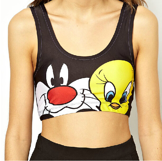 SMSS 2015 Summer Style Elastic Force Cartoon Bustier Crop Top Sport Tops Fitness Women Running Camis