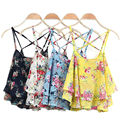 Women Summer Chiffon Vest Cami Crop Top Ruffles Floral Print Spaghetti Strap Sleeveless Sexy Blouse Camisole Bandage Tank Tops