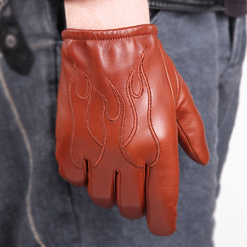 Genuine Leather Gloves Male Autumn Winter Velvet Nylon Two Lined Chosen Fashion Embroidery Man Sheepskin Gloves M050NN 2020 new men genuine leather gloves male fashion trend autumn winter plush lined black suede sheepskin touch gloves 9006