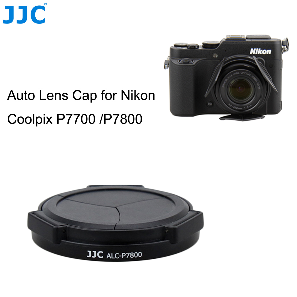 JJC Camera Black Self-Retaining Automatic Open Close Protector Auto Lens Cap for Nikon Coolpix P7700 /P7800