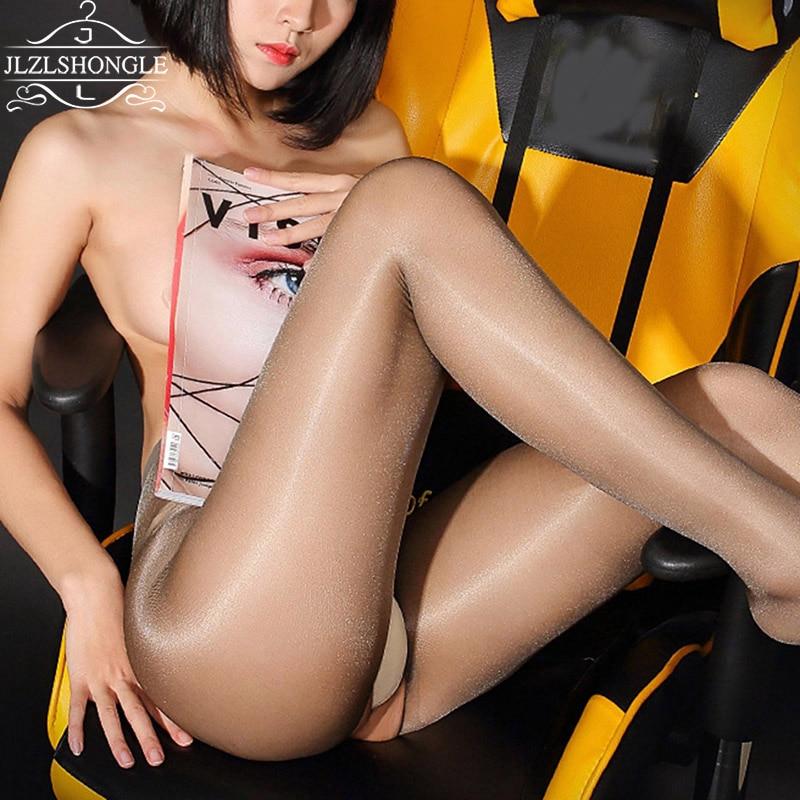 Hot 30D Women's Fashion Oil Shiny Open-crotch High Waist Pantyhose Yarns Sexy Stockings Hose Dance Female High Elasticity Tights