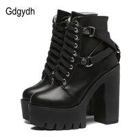 Gdgydh/модные черные ботинки, женские демисезонные ботинки на платформе из мягкой кожи со шнуровкой, женские ботильоны для вечеринок на высоко...