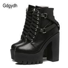 Gdgydh Fashion Black Martin Boots Women 2017 New Autumn Lace-up Soft Leather Platform Shoes Woman Party Ankle Boots High Heels цены онлайн