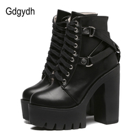 Gdgydh Fashion Black Boots Women Heel Spring Autumn Lace up Soft Leather Platform Shoes Woman Party Ankle Boots High Heels