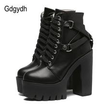 Gdgydh אופנה שחור מגפי נשים העקב אביב סתיו שרוכים רך עור פלטפורמת נעלי אישה מסיבת קרסול מגפיים גבוהה עקבים פאנק