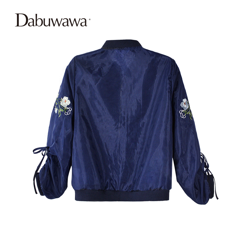 Dabuwawa Dark Blue Spring Short Bomber Jacket Floral Embroidery Jacket Women Long Sleeve Casual Baseball Coat 4