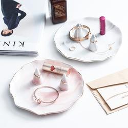 Скандинавские мраморные золотые керамические тарелки кольцо держатель для хранения ювелирных изделий лоток Дисплей Стенд Макияж Организа...