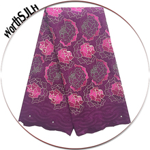 2018 Swiss Dry Lace Fabrics High Quality Cotton Fabric Magenta Peach Voile African 2017