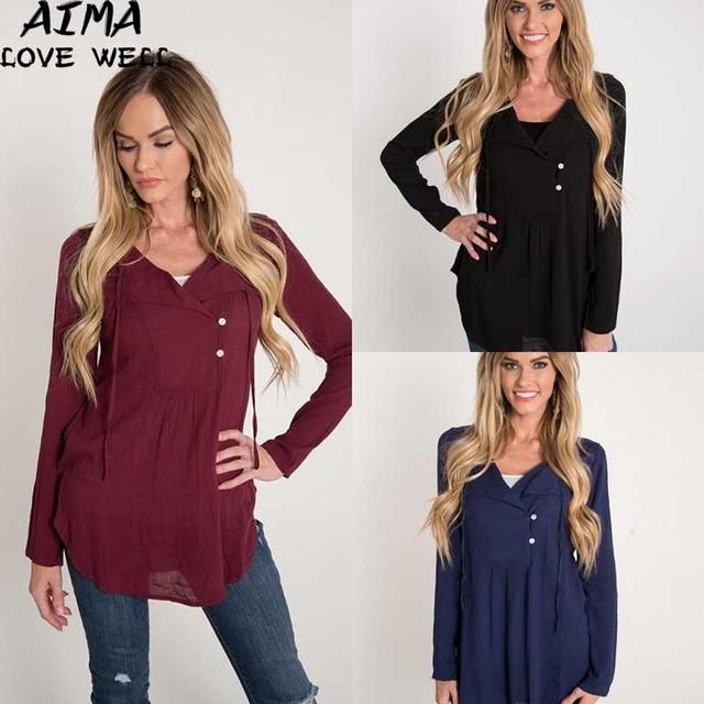 Verão Novo 2017 Sexy Com Decote Em V Botão Mulheres Camisetas Moda Casual Lace-up Sólido Longo-sleeved Blusas Femininas Tee camisa de Alta Qualidade