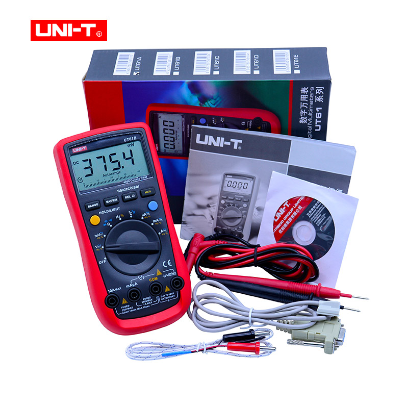 Digital Multimeter UNI-T UT61B LCD AC DC voltmeter ohmmeter ammeter meter CD Backlight & Data Hold Multitester auto digital multimeter 6000counts backlight ac dc ammeter voltmeter transform ohm frequency capacitance temperature meter xj23