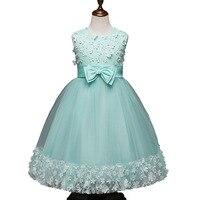 4 Season 3d Flower Embroidery Sleeveless Bowknot Lacing Princess Chiffon Girls Party Dress Wedding Wear Kid