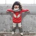 Varejo 2017 estilo Primavera roupas Infantis Engrossar conjuntos de Roupas Raposa Vermelha 2 pcs (Manga Completo + Calças) bebê roupas das meninas Frete Grátis