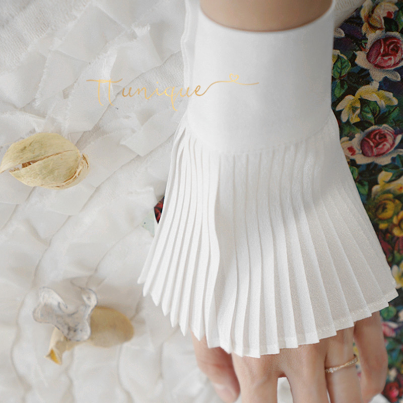 Fashion White Fold Decorative Fake Cuffs Fashion Versatile Laces Fake Cuff Sleeves Chiffon Sleeves Pleated Decorative OL Commute