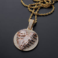 Hip Hop AAA CZ Zircon Paved Bling Iced Out Chest Heartbreakers Round pendants Necklace for Men Rapper Jewelry Rose Gold