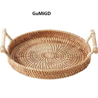 Retro manual rattan bread basket double handle circular tray fruit basket tea table snack basket