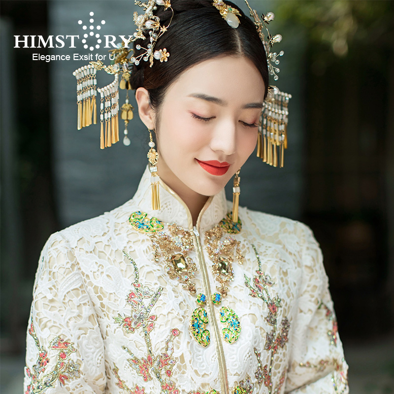 HIMSTORY Retro Vintage Chinese Wedding Hair Accessories Jewelry Gold Long Tassel Hairpins Pearl Beaded Wedding Hair Jewelry bride chinese vintage headdress beaded tassel protein hairpins comb crystal hair jewelry vintage wedding hair accessories