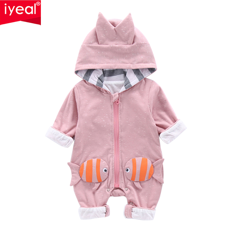 IYEAL Newborn Baby Hooded Romper Cartoon Fish Costume Baby Clothes Infant Overalls Autumn Warm Long Sleeve Toddler Kids Jumpsuit newborn baby romper kid jumpsuit hooded infant outfit clothes long animal modelling baby rompers overalls of toddler body suit
