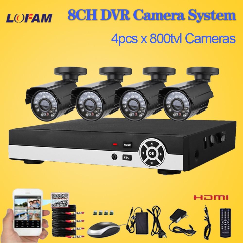 imágenes para LOFAM DVR de 8 canales con 4 cámara 800TVL CCTV de vídeo sistema de vigilancia 8ch completa 960 h de grabación en casa de cámaras de seguridad al aire libre conjunto
